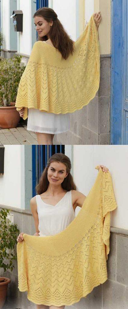 Majesty Lace Shawl Free Knitting Pattern Download. Knitted shawl with lace pattern, wave pattern and garter stitch. Chevron lace shawl pattern.