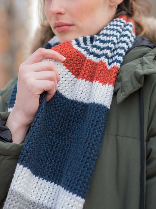 Melville Easy Striped Scarf Free Knitting Pattern