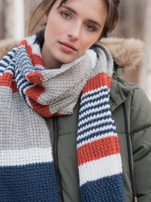 Free free striped scarf knitting pattern Patterns ⋆ Knitting Bee ...