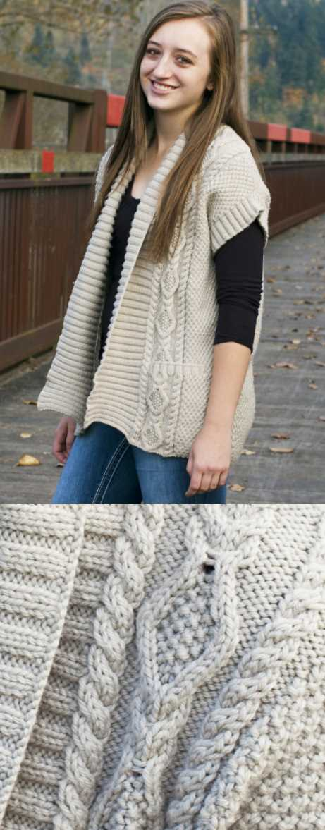 Paloma Waistcoat Free Knitting Pattern. FREE vest knitting pattern with interesting cable features at the front.