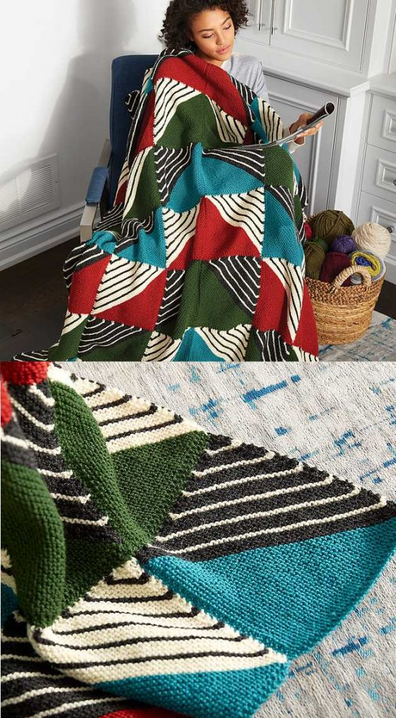 Knit Patchwork Blanket Free Pattern Knitting Bee