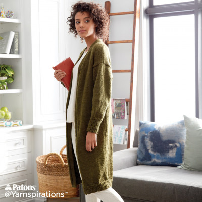 Patons Cozy Knit Coatigan Free Knitting Pattern