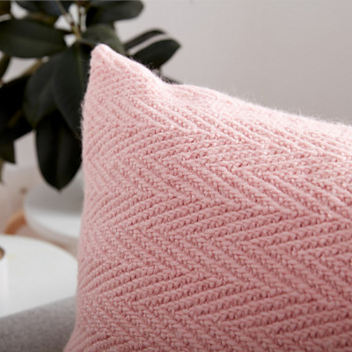Patons Knit Herringbone Pillow Free Knitting Bee