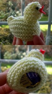 Pattern for Knitted Easter Chick Containing Creme Egg