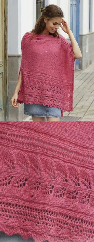 Scarborough Fair Free Lace Poncho Knitting Pattern ⋆ Knitting Bee