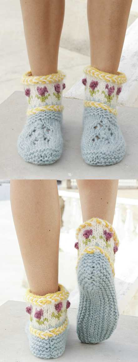 Spring Buds Lace, Cables and Colorwork Slippers Free Knitting Pattern.