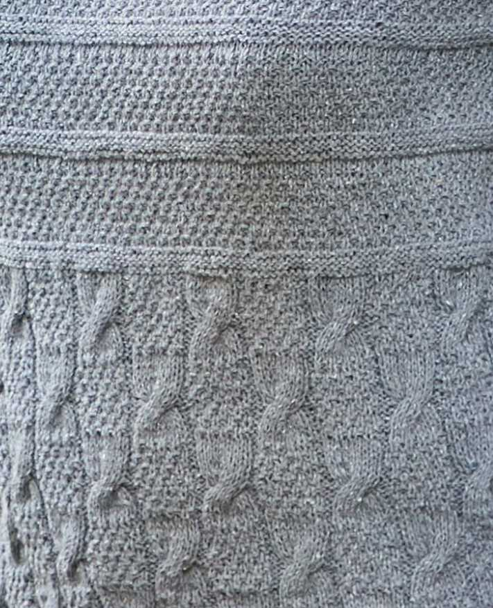 Stitch pattern detail, cables and seed stitch.