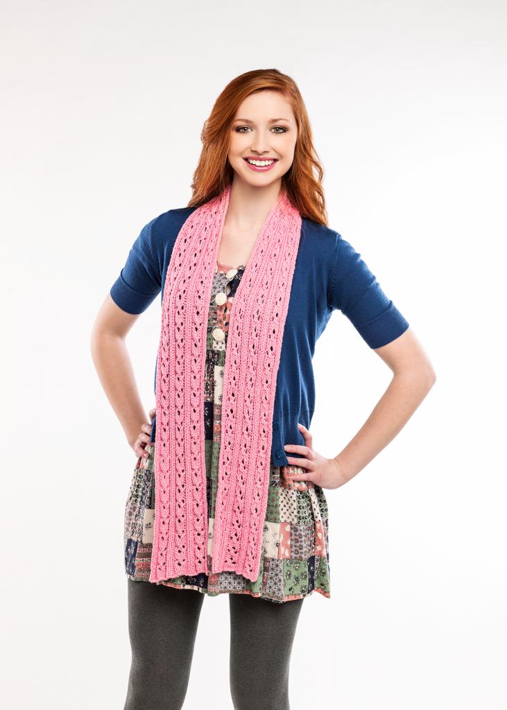 Sweet Pea Lace Scarf Free Knitting Pattern Download. Free eyelet lace scarf knit pattern.