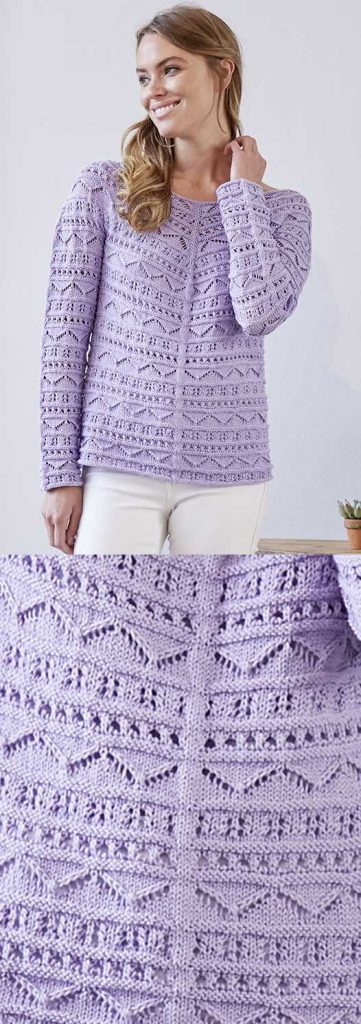 Top-down Shirt with Long Sleeves Free Knitting Pattern. Lace knit top pattern for ladies with cotton yarn.