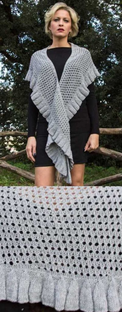 Woolen Lace Shawl with Pleated Edge Free Knitting Pattern Download