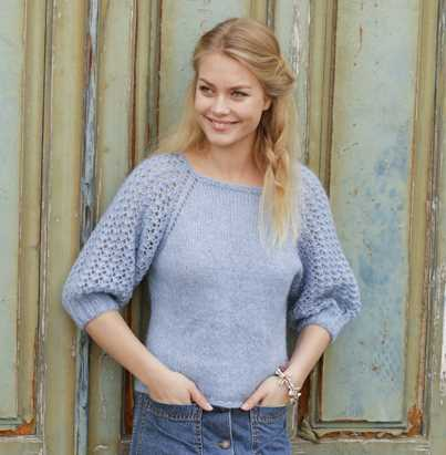 Bejeweled Raglan Sweater with Lace Sleeves Free Knitting Pattern
