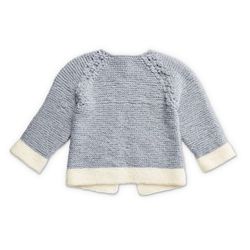 Free baby cardigan knitting pattern for a lightweight yarn for detailed eyelet lace panels knit in contrast with basic garter stitch.