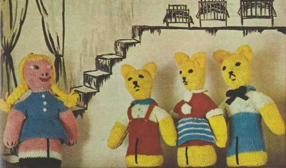 FREE Goldilocks and the Three Bears Vintage Toy Knitting Pattern