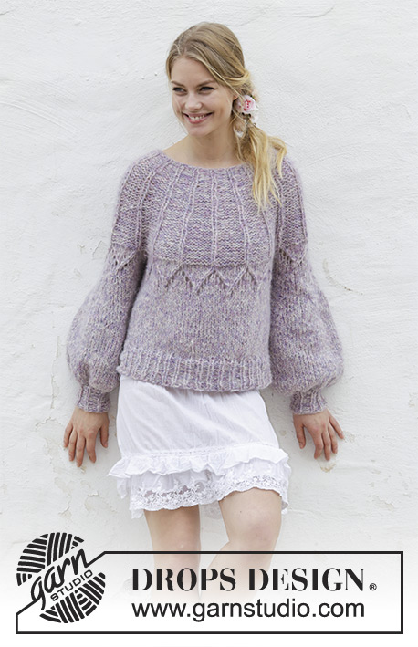5c95a56ee Fair Lily Sweater with Lace and Round Yoke Free Knitting Pattern ⋆ Knitting  Bee