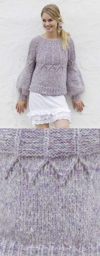 Fair Lily Sweater with Lace and Round Yoke Free Knitting Pattern
