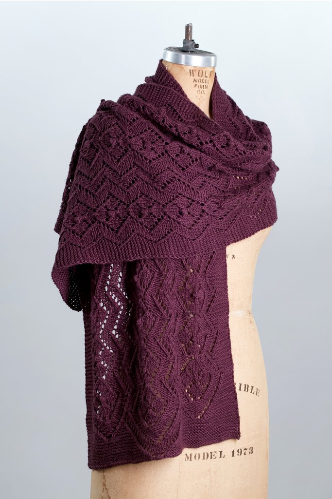 Free Knitting Pattern for Bayne Scarf lace scarf knit pattern.