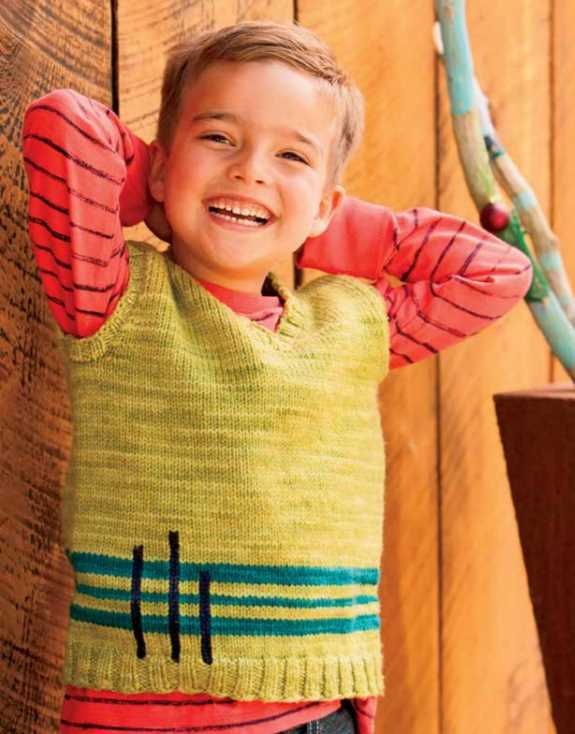 Free Knitting Pattern for a Boys Vertical Vest