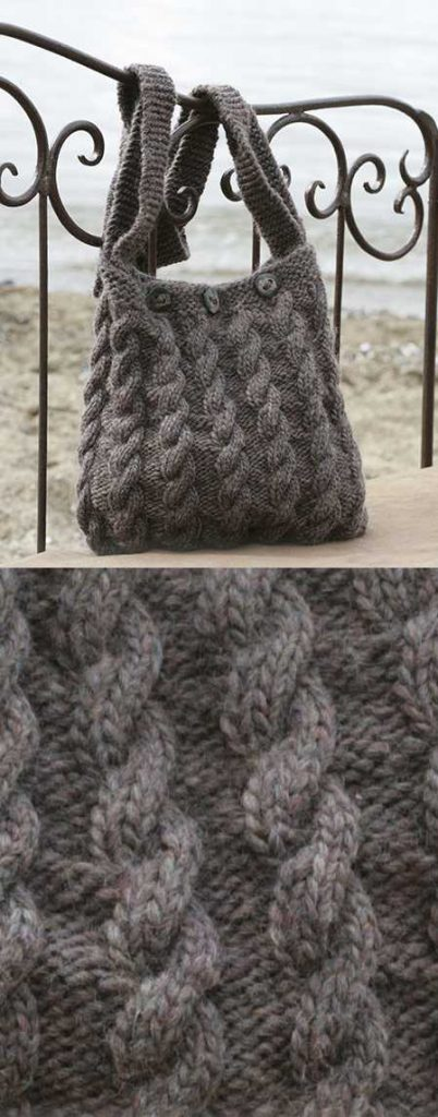 Free Knitting Pattern for a Cable Handbag The Seafarer.