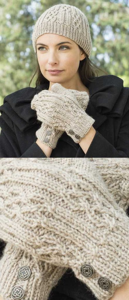 Free Knitting Pattern for a Celtic Cable & Rib Beanie & Mittens. Beautiful cable stitch beanie and mitt set to knit for women.