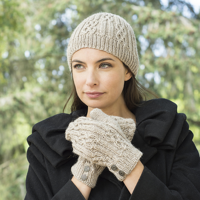 Free Knitting Pattern for a Celtic Cable & Rib Beanie & Mittens