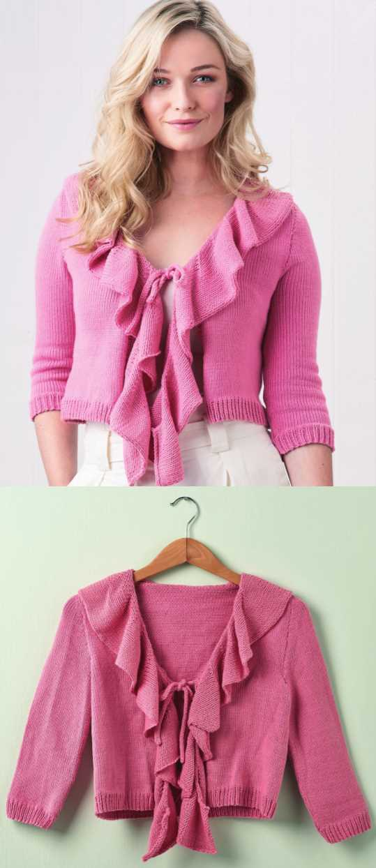 Free Knitting Pattern for a Fluted Ruffle Cardigan