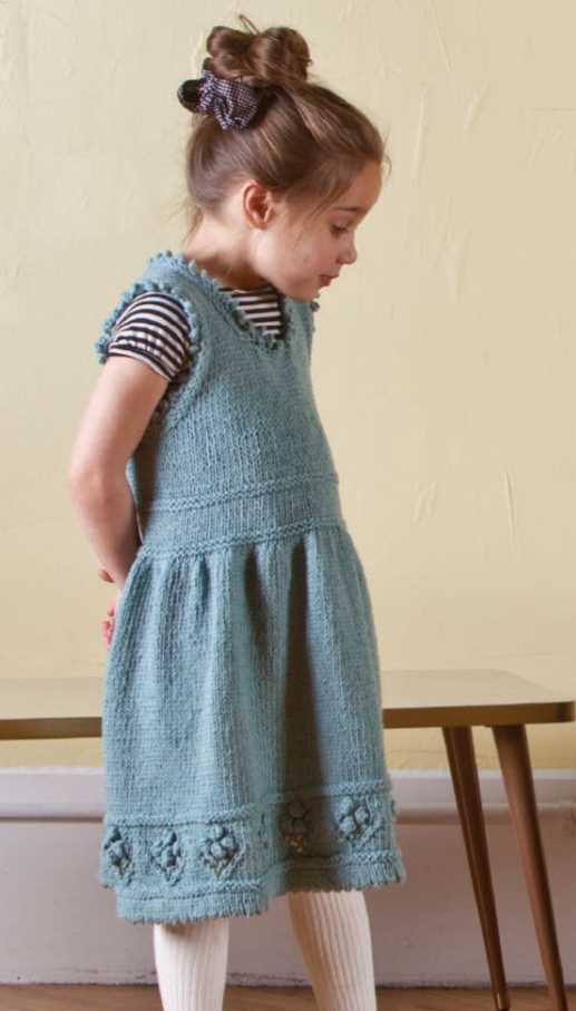 Free Knitting Pattern for a Girl's Teacup Pinafore Dress
