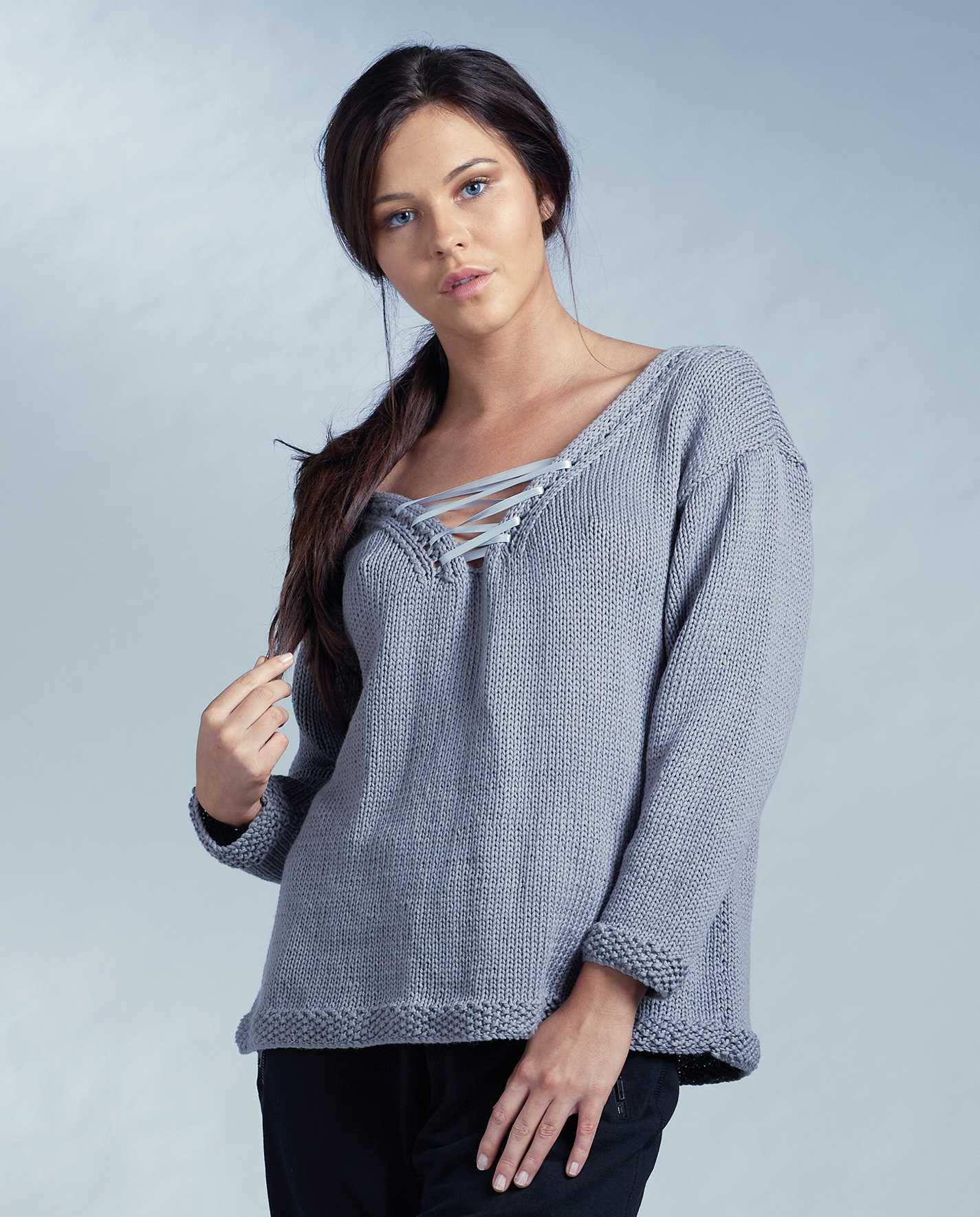 Free Knitting Pattern for a Lace Front Sweater