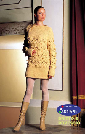 Free Knitting Pattern for a Lace and Bobble Tunic