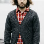 Free Knitting Pattern for a Men's Cabled Cardigan.