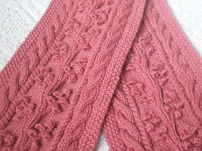 Free Knitting Pattern for a Regina Cable & Bobble Scarf