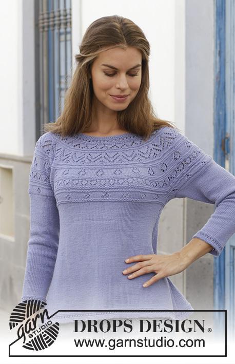 Free Knitting Pattern for a Round Lace Yoke Sweater.