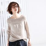 Free Knitting Pattern for a Round Yoke Linen Pullover