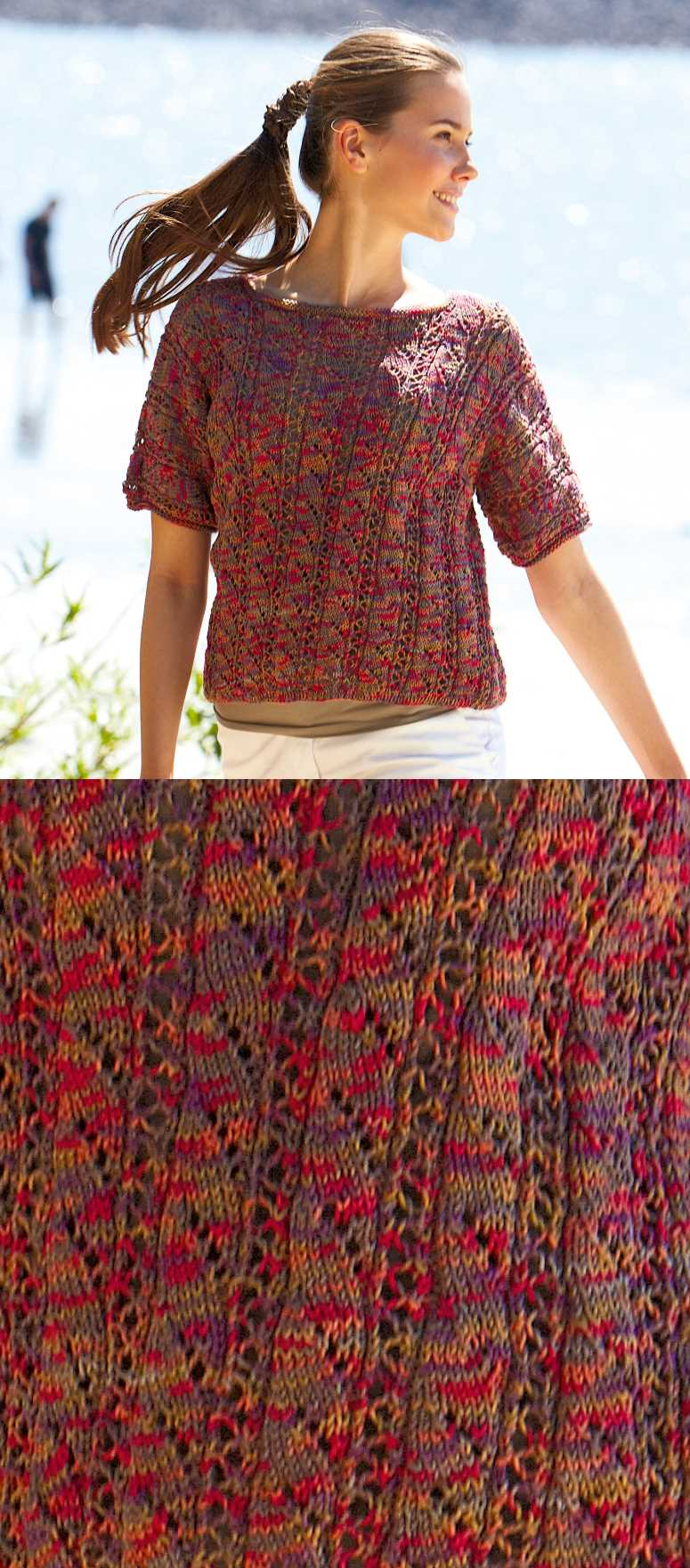 Free Knitting Pattern for a Short-sleeved Pullover.