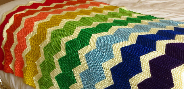 Free Reversible Blanket Knitting Patterns Garter Chevron Blanket