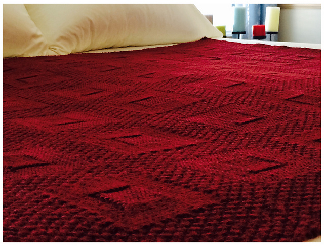 Free knitting pattern for a reversible blanket with a squares pattern