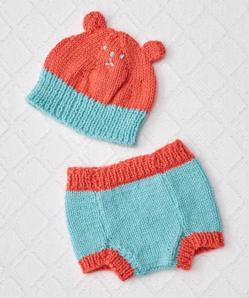 Knit Bear Hat And Diaper Cover Free Baby Knitting Pattern 1