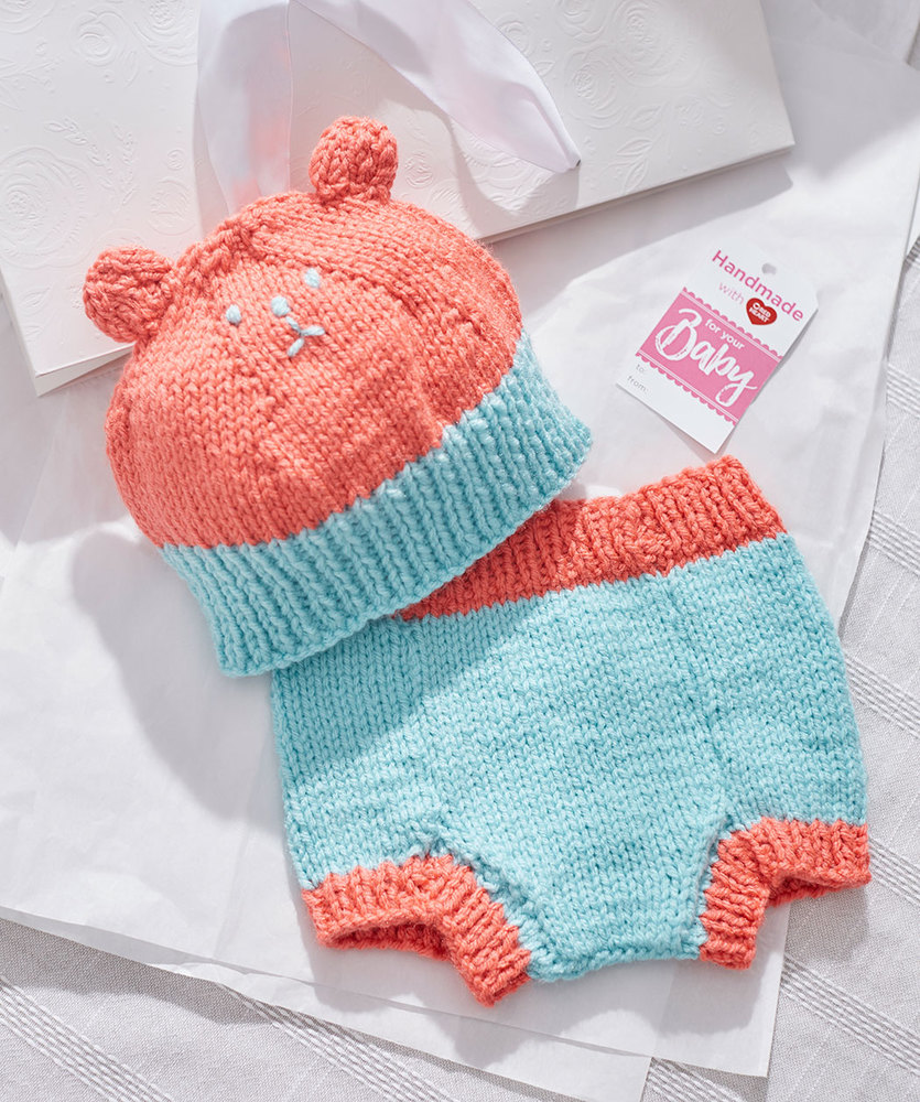 Knit Bear Hat and Diaper Cover Free Baby Knitting Pattern