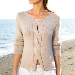 Ladies Top Free Knitting Pattern with a Center Cable.