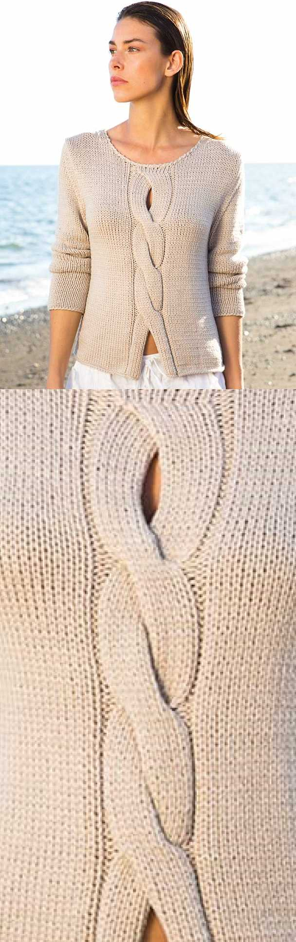Ladies Top Free Knitting Pattern with a Center Cable ⋆ Knitting Bee