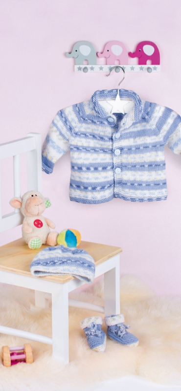 FREE Baby Knitting Pattern for a Little Jacket, Cap and Shoes