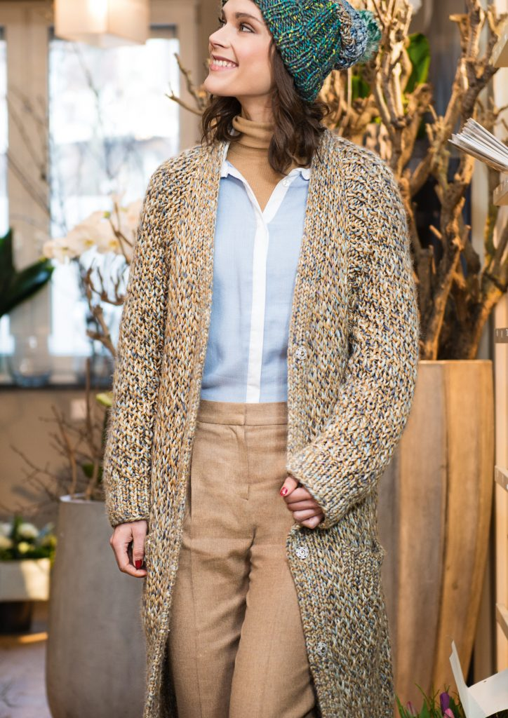 Long Cardigan In Honeycomb Pattern Free Knitting