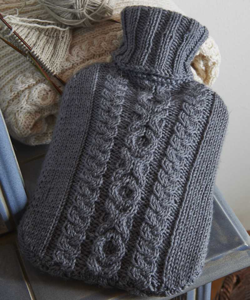 Naughts and Crosses Cabled Hot Water Bottle Free Knitting Pattern