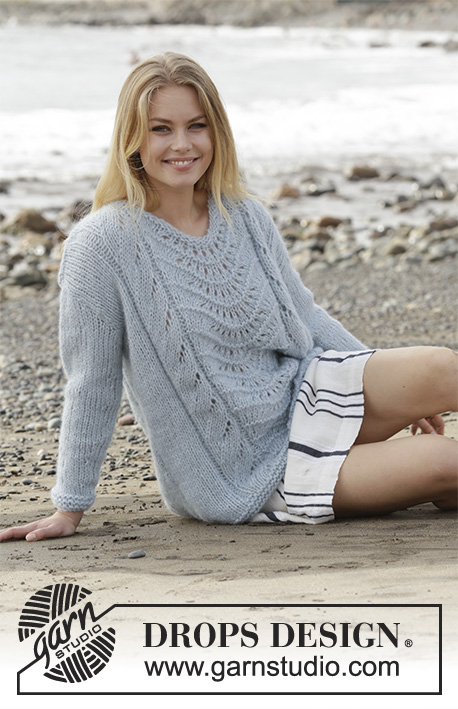 Free Knitting Pattern for a Lace Sweater with a feather and fan stitch panel in the front