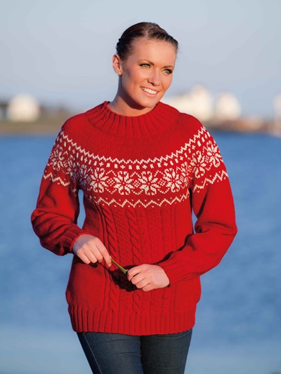 Nordic Star and Cables Sweater with Yoke Free Knitting Pattern