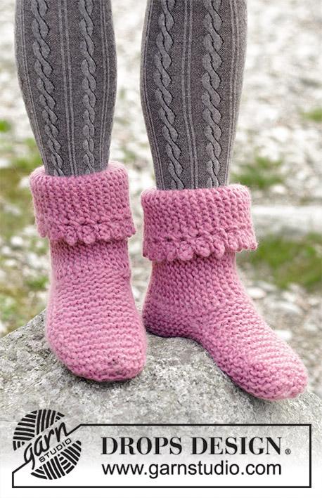 Raspberry Frills Free Knitted Slipper Pattern