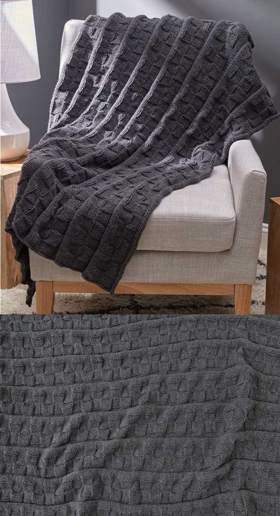 Reversible Block Throw Free and Easy blanket Knitting Pattern Download