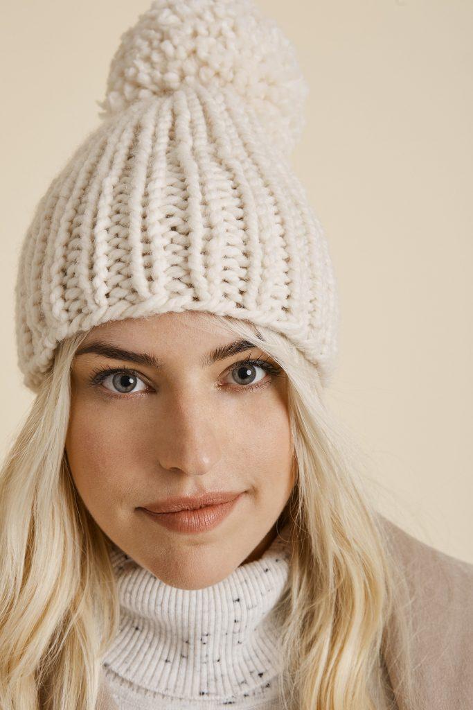 Snowball Hat Free Knitting Pattern