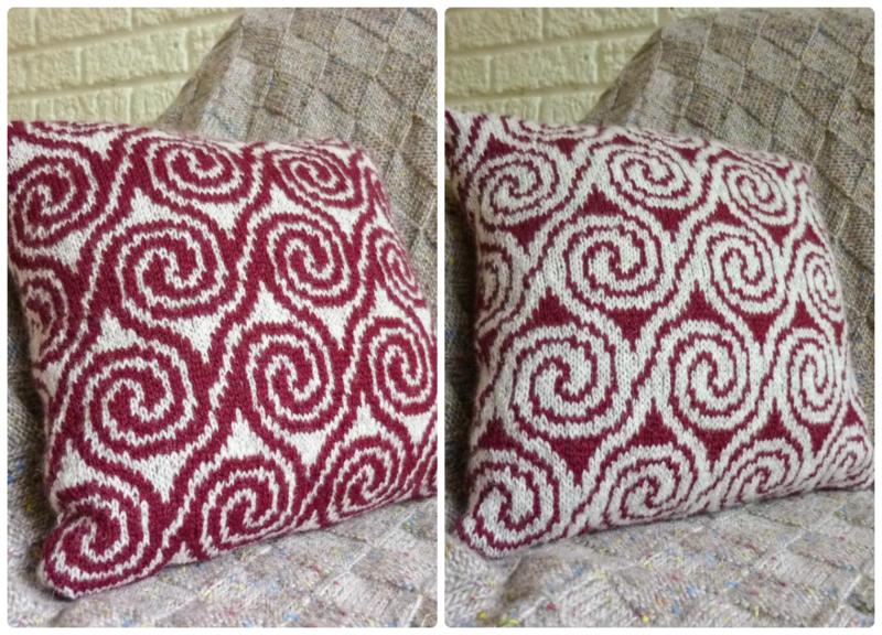 Free Knitting Pattern for a Swirls Fair Isle Pillow