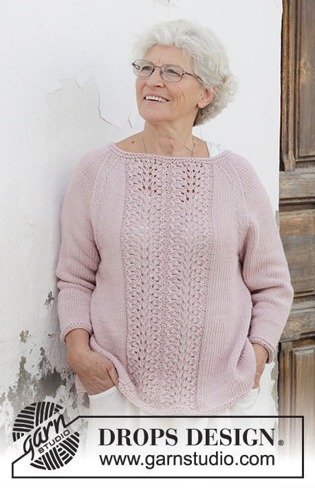 Teresa Raglan Sweater With Feather And Fan Stitch Panel Free