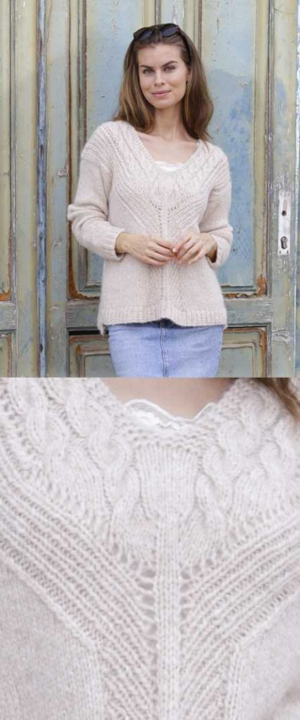 To The Point Cable And V Neck Sweater Free Knitting Pattern
